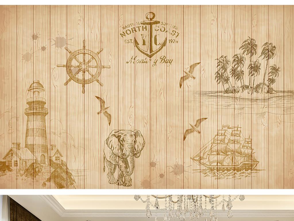 欧式复古木板条纹地中海灯塔背景