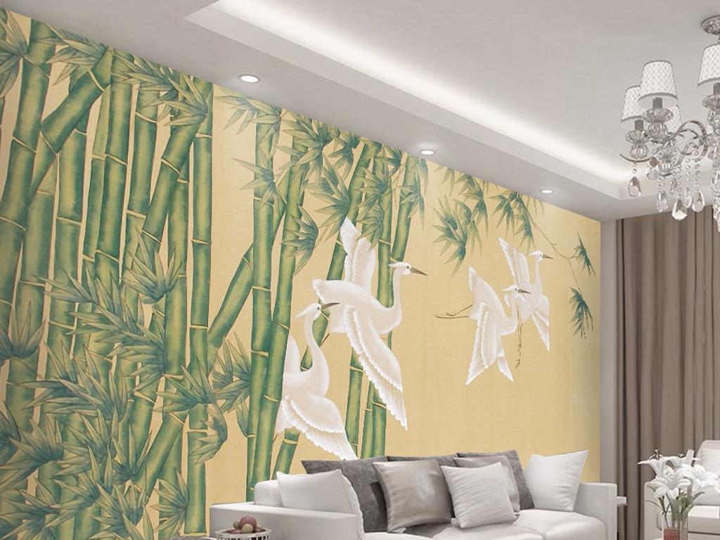 中式手绘竹林白鹤电视背景墙