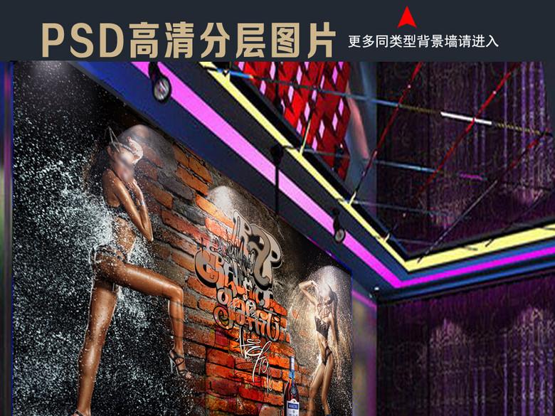 3D砖墙性感美女淋浴工装背景墙
