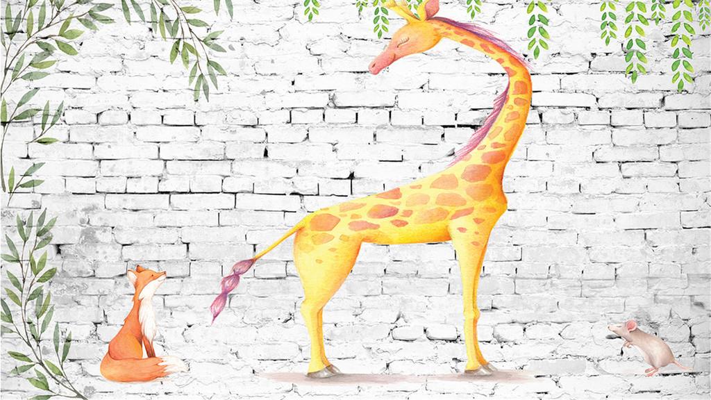 壁纸动物北欧欧式欧美田园欧式背景兔子小鹿唯美淡雅卡通长颈鹿彩绘
