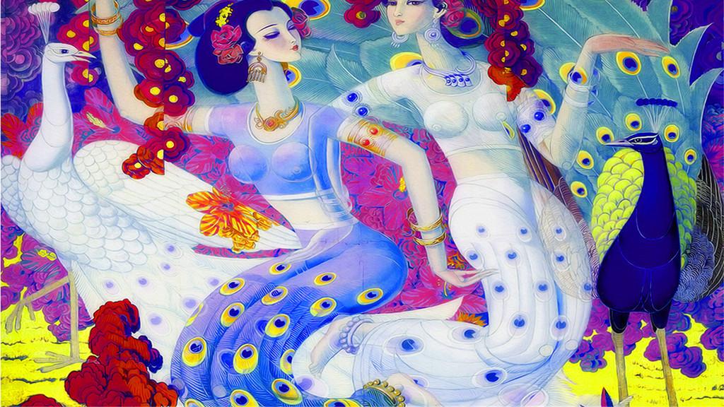 画敦煌飞天彩雕背景墙四大美女仙女孔雀图中式窗花中式婚礼新中式中式