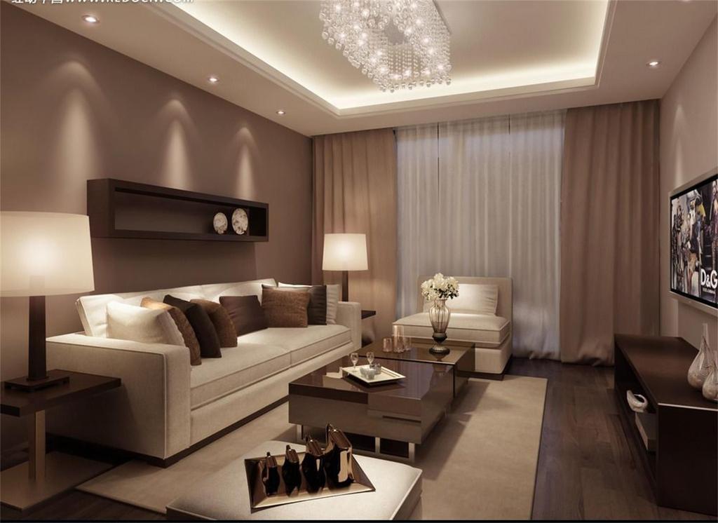 现代客厅3d效果图