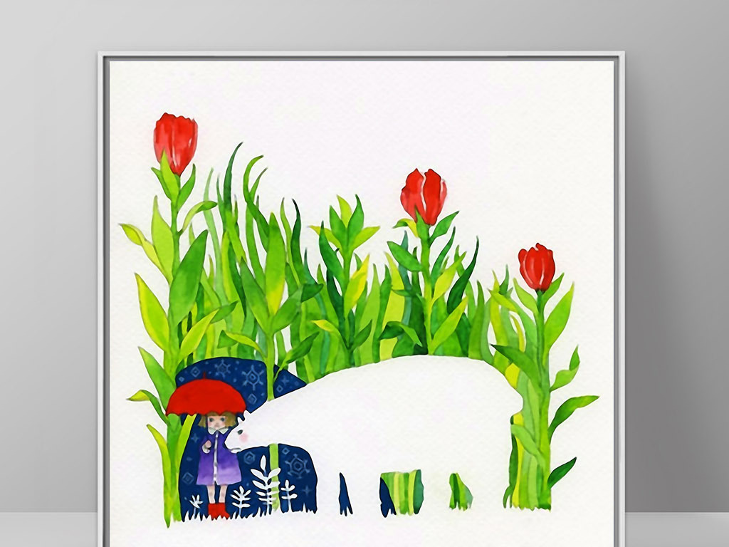 小女孩白熊花丛欧式手绘北欧现代家居装饰画