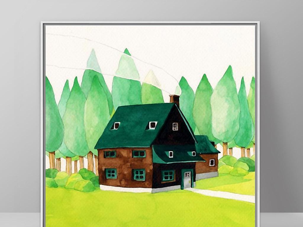 森林里精灵小房子北欧神话手绘欧式装.