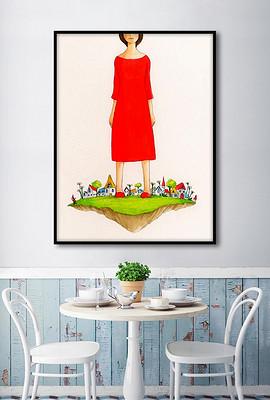 爱丽斯在小人国北欧童话欧式手绘家居装饰画