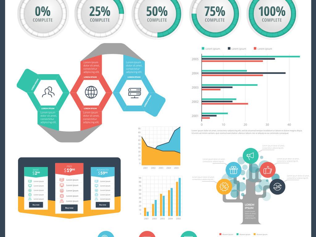 时尚炫彩商业统计PPT矢量信息图表模板下载 23.91MB 信息图表大全 科技素材
