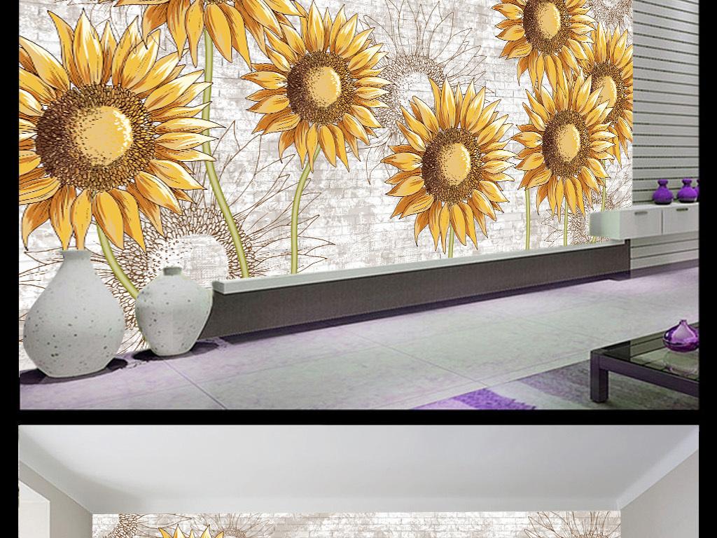 简欧向日葵抽象手绘背景墙装饰画