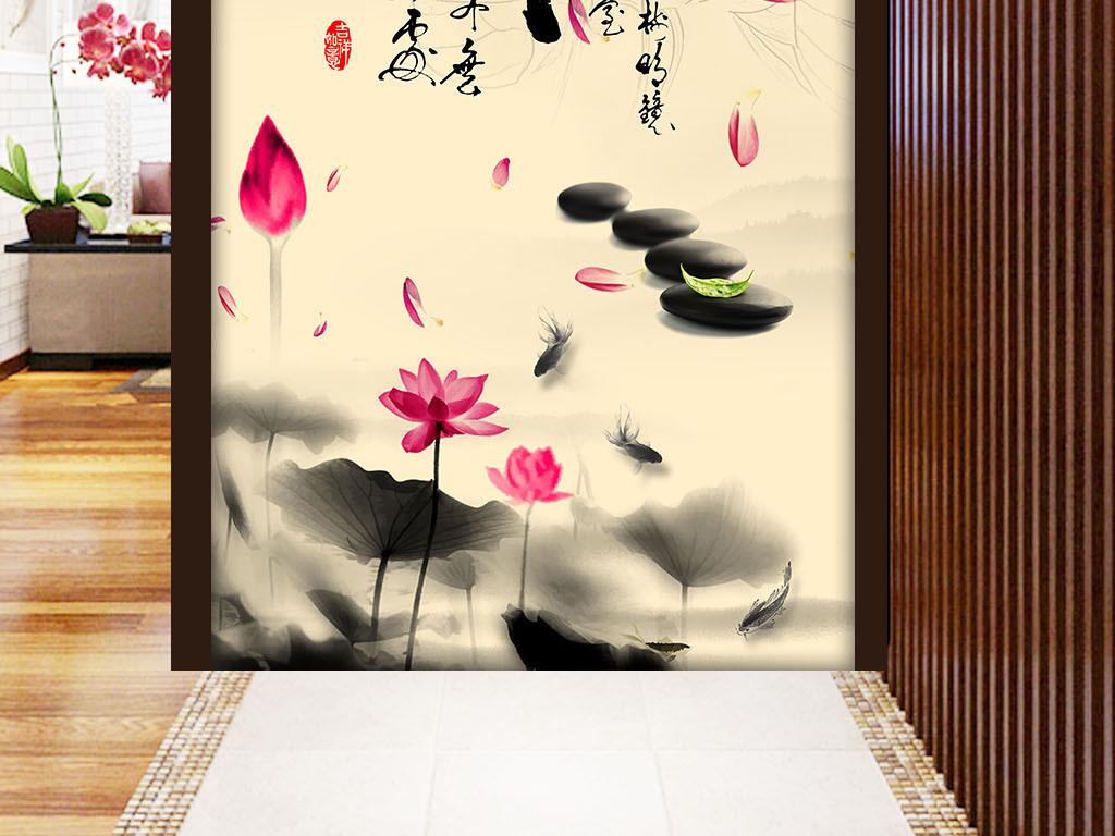 中式古典禅意莲花玄关壁画