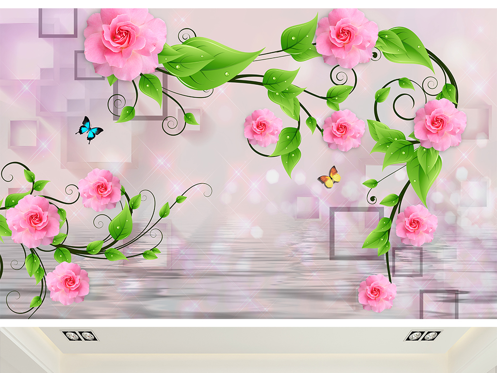 框画婚房背景玫瑰花花藤玫瑰花背景电视背景3d背景唯美背景立体立体