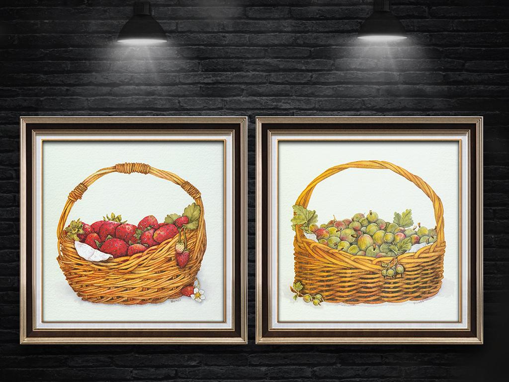 手绘卡通花蓝水果草莓无框画
