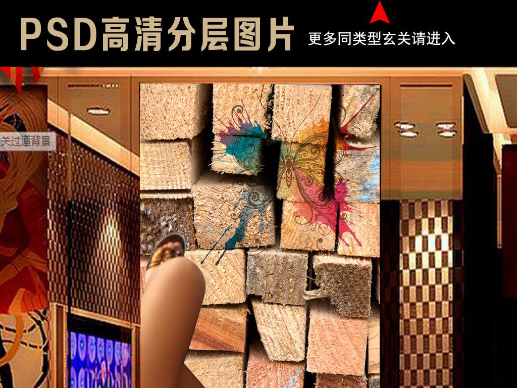 背景墙|装饰画 工装背景墙 酒吧|ktv装饰背景墙 > 木头背景性感美女工