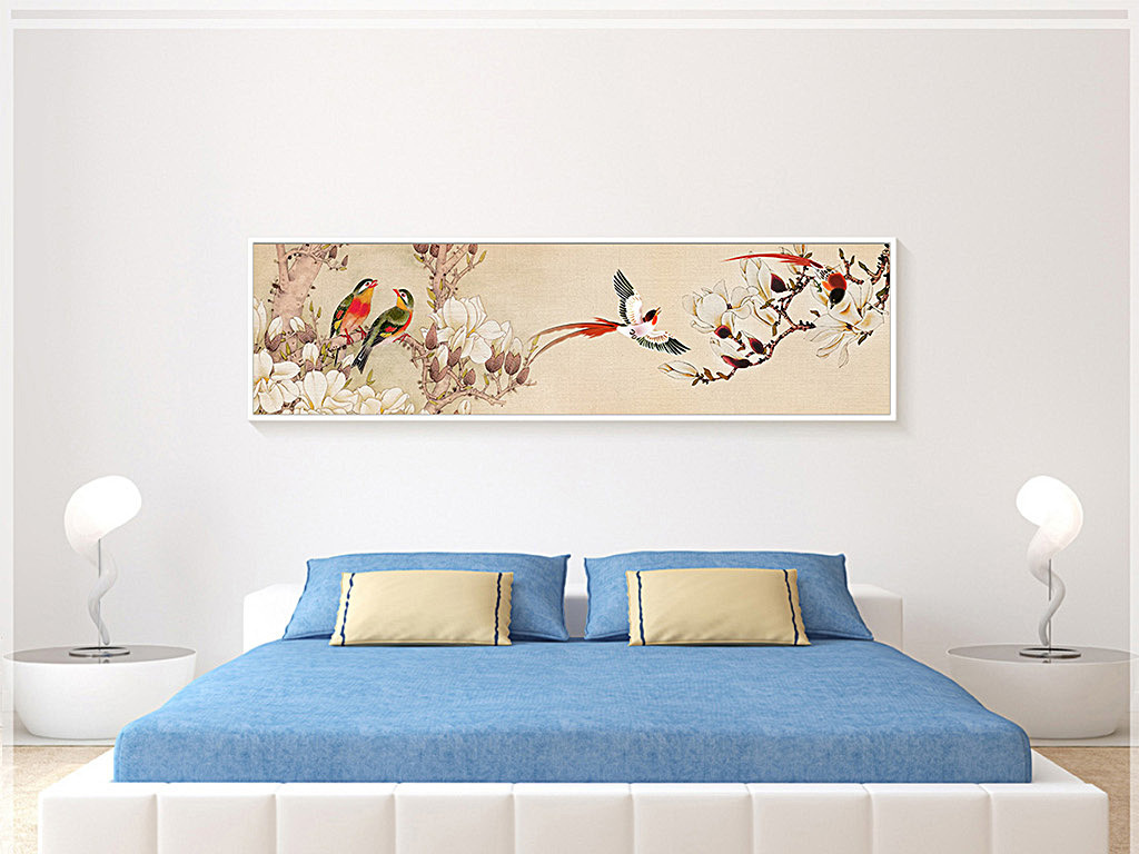 喜鹊当头无框画床头画新中式背景墙