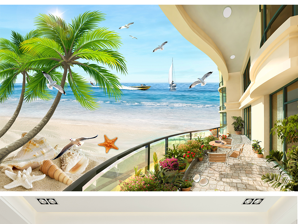 海边椰树欧式海景别墅沙滩电视背景