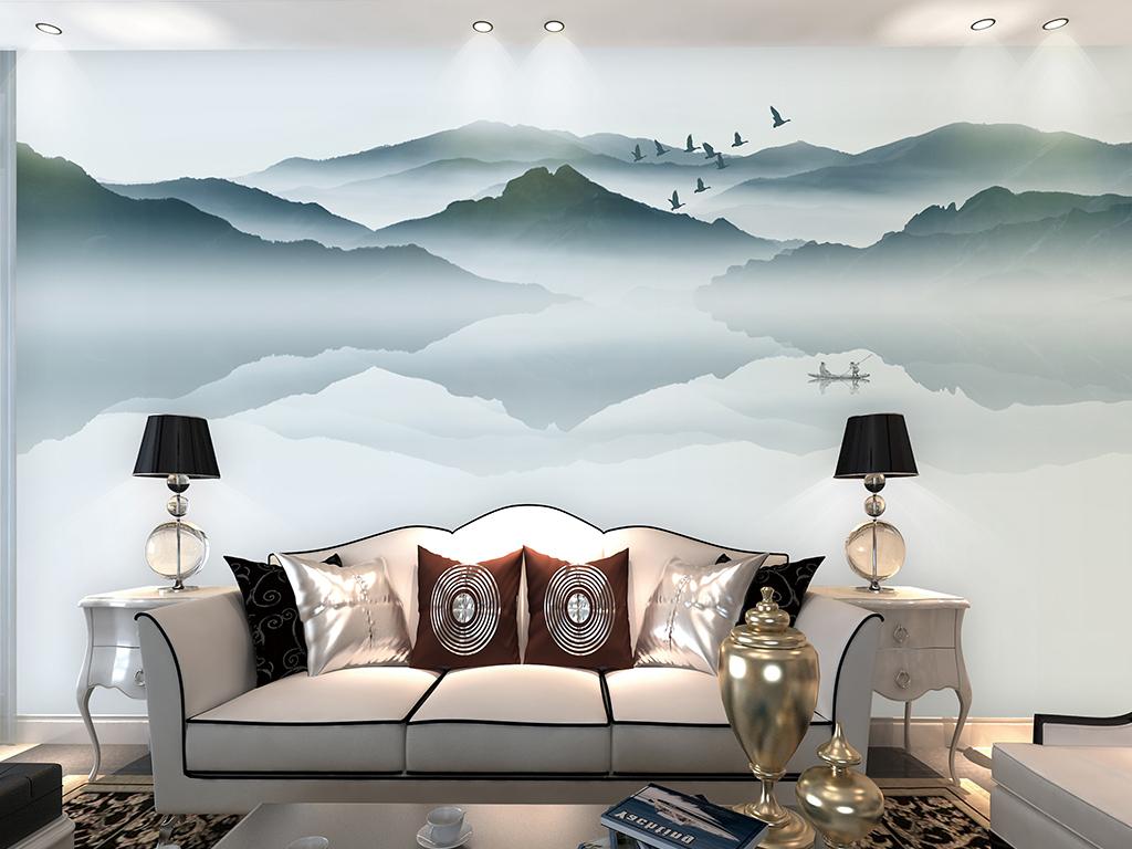 新中式抽象水墨山水背景墙卧室装饰壁画