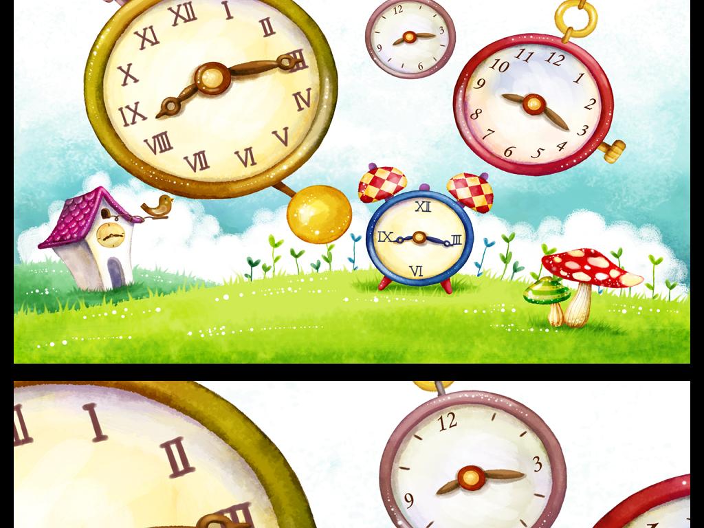 卡通时钟闹钟儿童房间背景墙