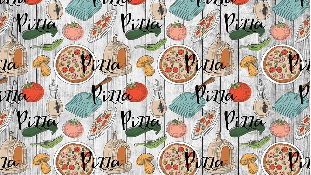 墙|装饰画 工装背景墙 酒店|餐饮业装饰背景墙 > 卡通手绘美味披萨