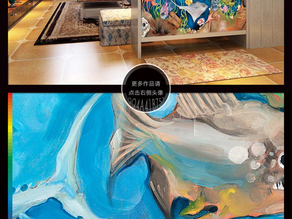 手绘卡通鲸鱼大海洋玄关背景墙装饰画
