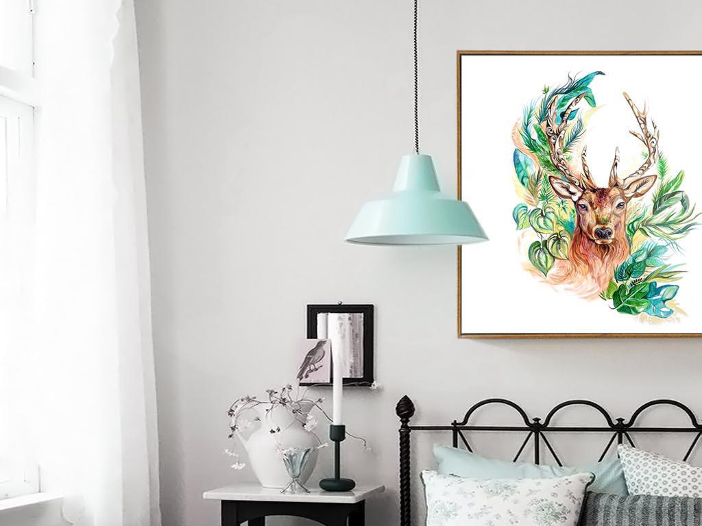 背景墙|装饰画 无框画 动物图案无框画 > 现代简约北欧抽象水彩麋鹿装