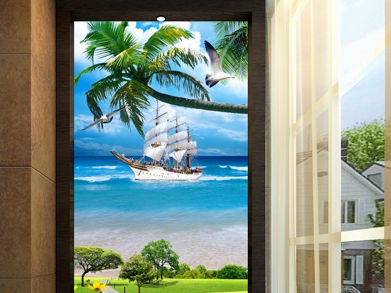 美丽海滩椰子树一帆风顺玄关背景墙装饰画