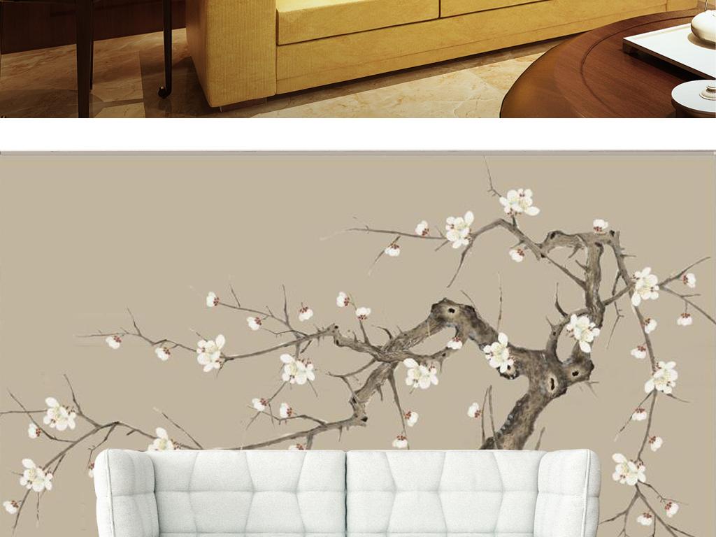 新中式極簡手繪白梅花電視背景墻(圖片編號:15981832)