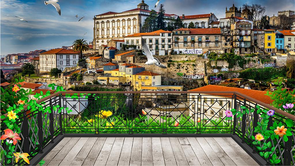 作品模板源文件可以编辑替换,设计作品简介: 3d阳台欧洲小镇背景 位图