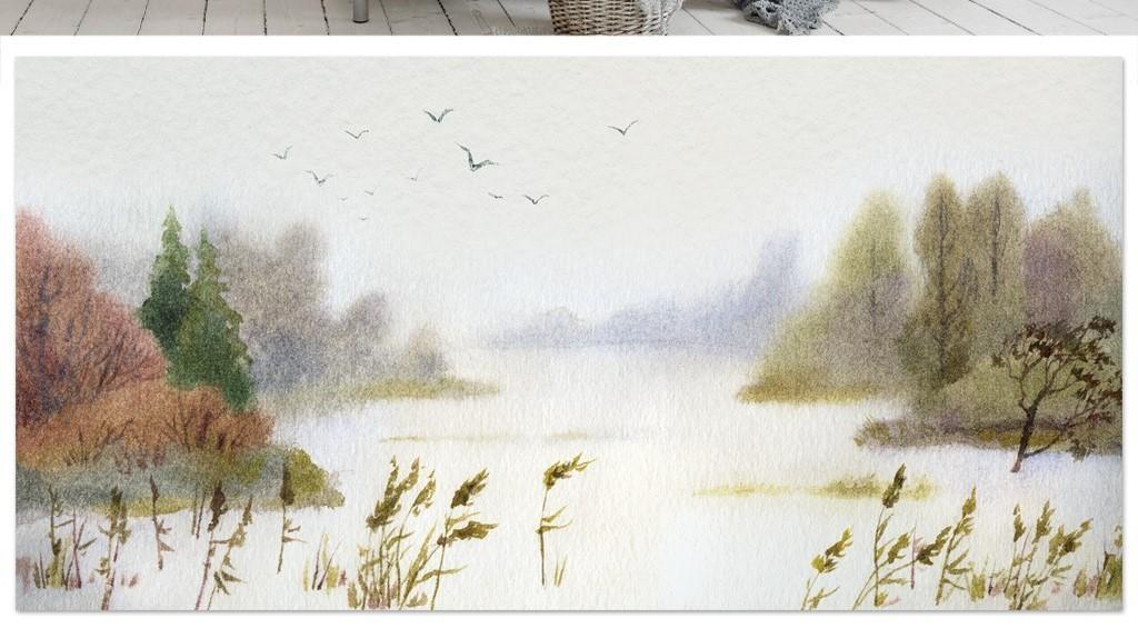 油画水彩飞鸟山水风景画现代电视背景墙