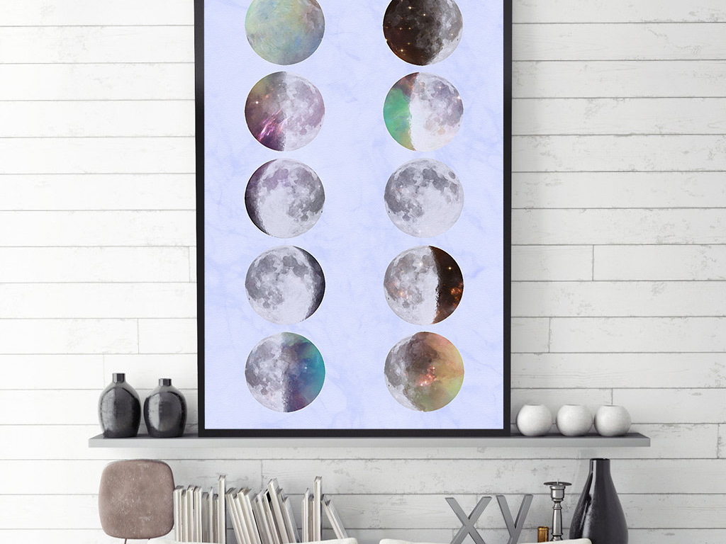 水彩星球创意简约图案无框画图片