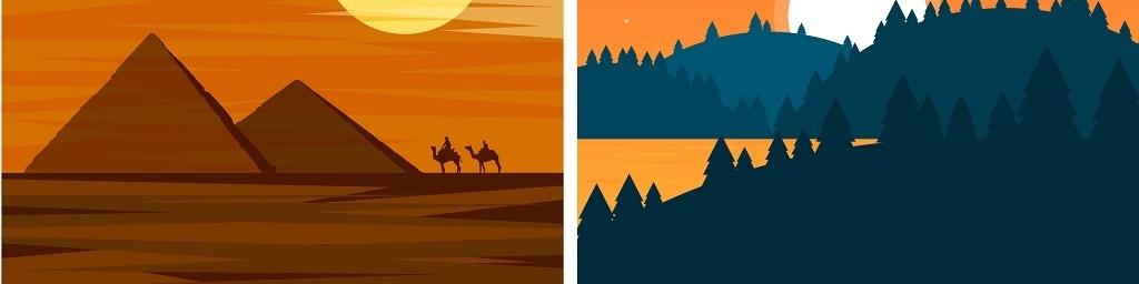 平面|广告设计 海报设计 旅游海报 > 自然山水风景装饰画矢量背景