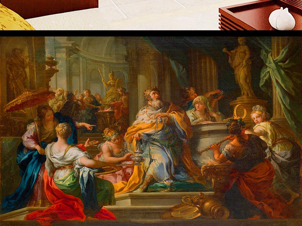 欧洲宫廷油画背景墙图片