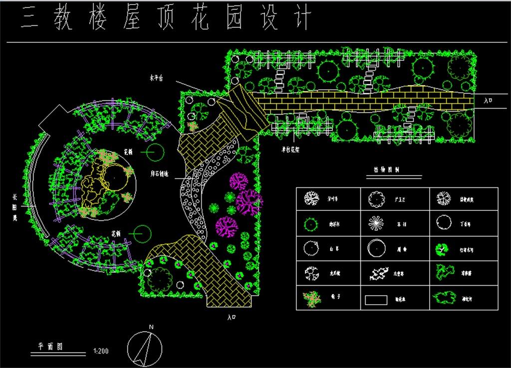cad圖庫 室內設計cad圖庫 cad圖紙 > 屋頂花園cad平面圖