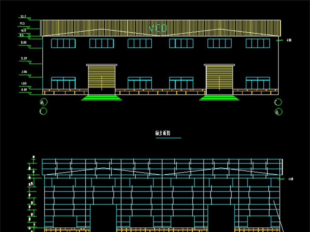 施工厂房cad结构图厂房设计图钢结构厂房cad厂房平面图厂房cad图纸