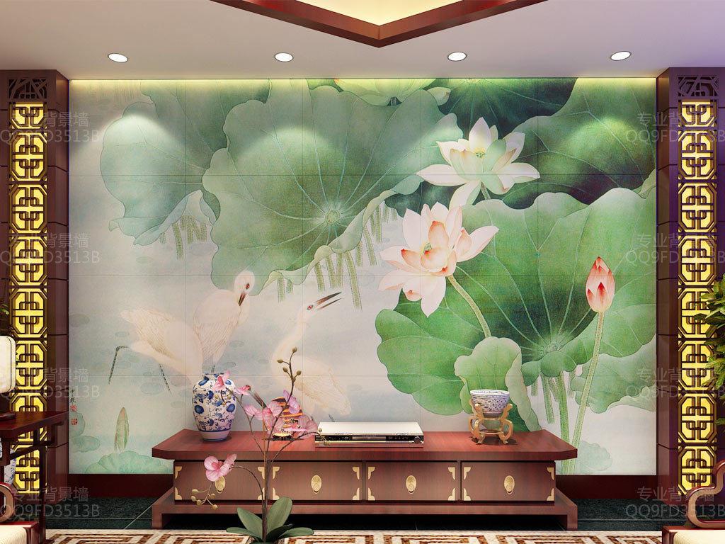 白鹭荷花中式背景墙壁画(图片编号:15987292)_中式墙
