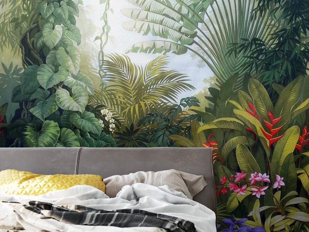 中世纪手绘热带雨林植物风景背景墙