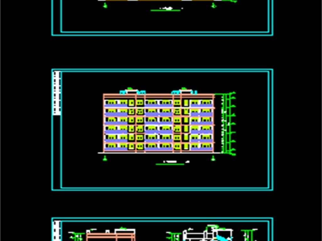 楼cad设计住宅楼cad平面图cad平面图cad立面图cad建筑设计图一梯三户