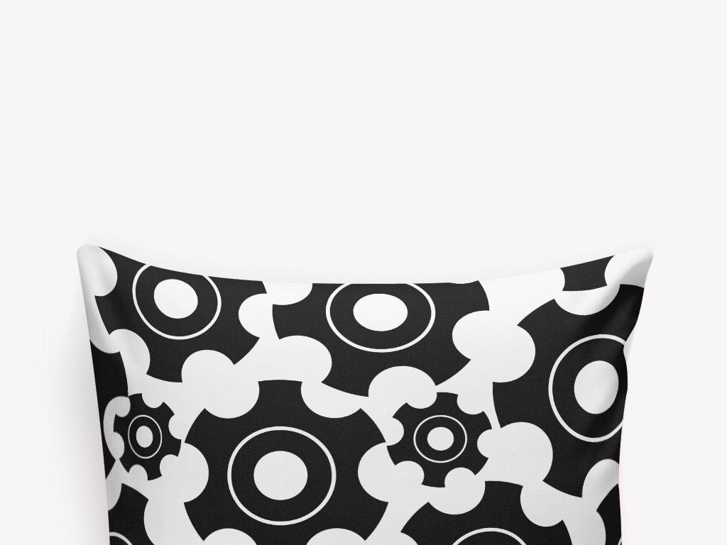 黑白机械零件抱枕图案设计