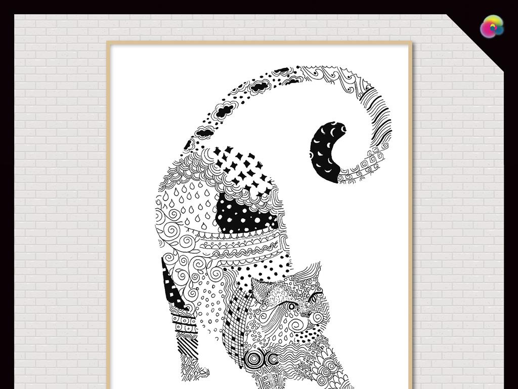 北欧风格高清黑白手绘动物无框画装饰画插画