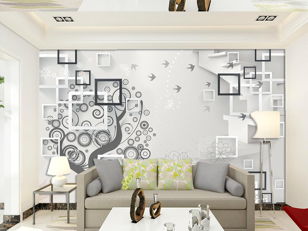 北欧风格欧式简约简约简约花纹欧式花纹手绘楼梯花纹电视背景3d背景立