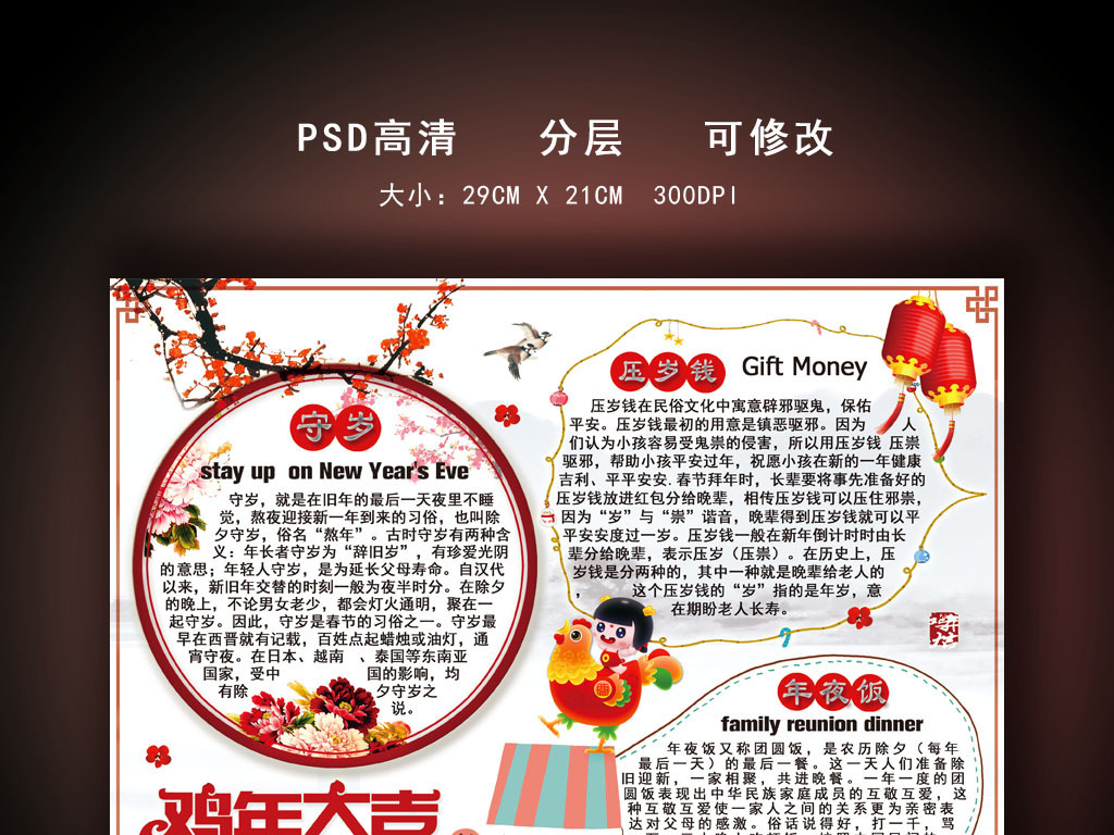 中国风鸡年电子小报手抄报模板图片