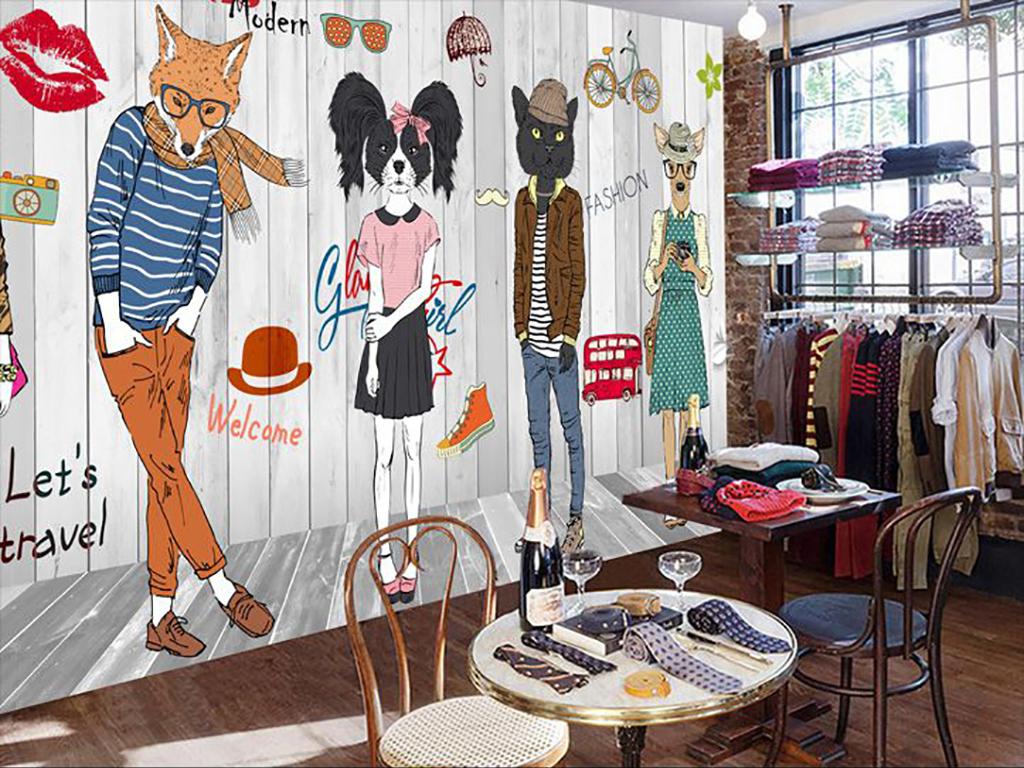 个性手绘抽象动物服装店背景墙