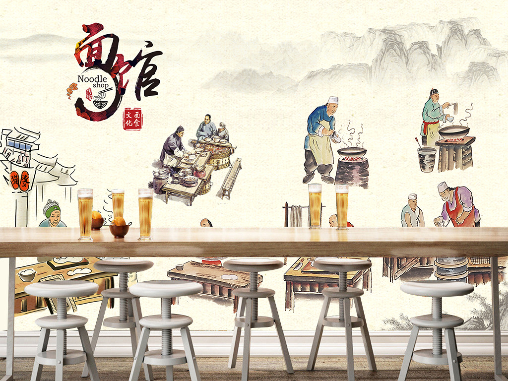 手绘海报主题餐厅饭店餐厅背景墙装修效果图工装背景墙壁画壁纸电视
