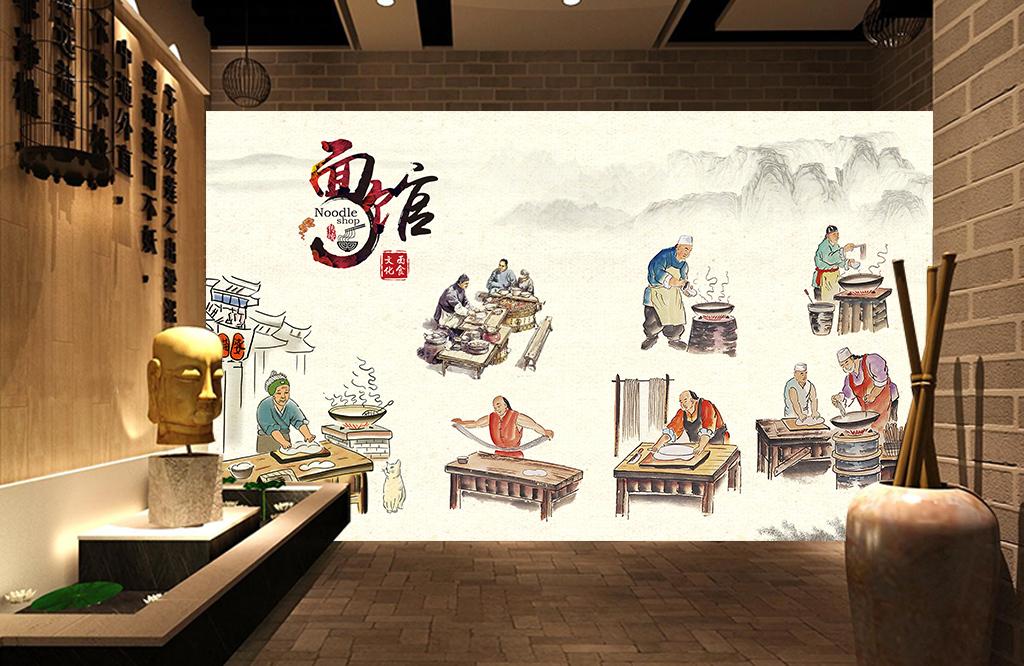 面馆餐厅手绘民俗壁画背景墙