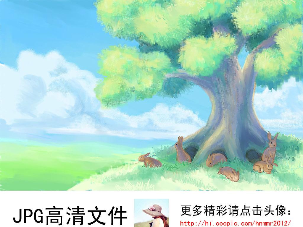 可爱卡通蓝天草地大树下一群兔儿童房背景墙