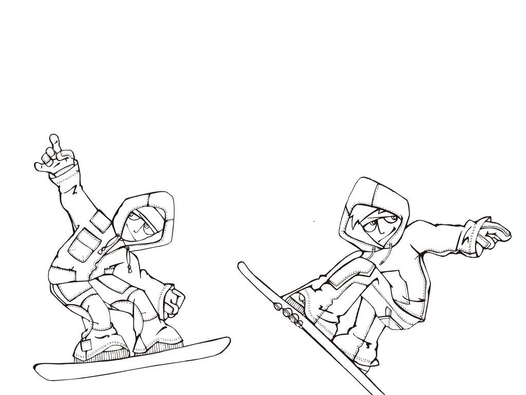 卡通運動人物簡筆畫滑板少年手繪人物男孩