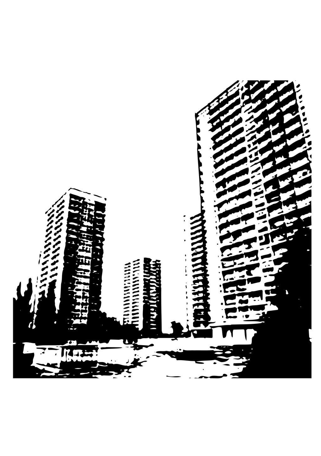 建筑物简笔画城市剪影高楼大厦