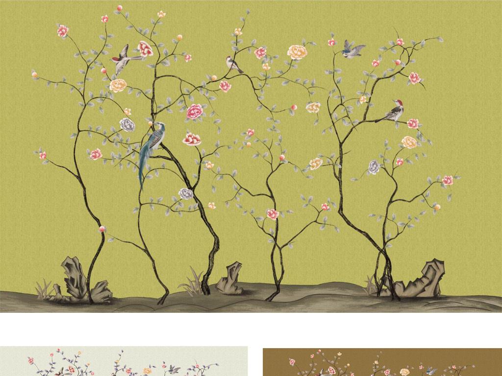 手绘中式工笔花鸟牡丹背景墙装饰画