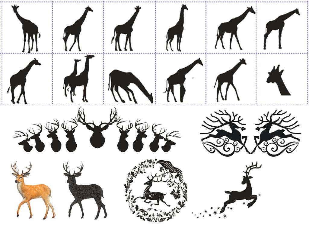cdr格式矢量鹿剪影长颈鹿神鹿野生动物设计素材