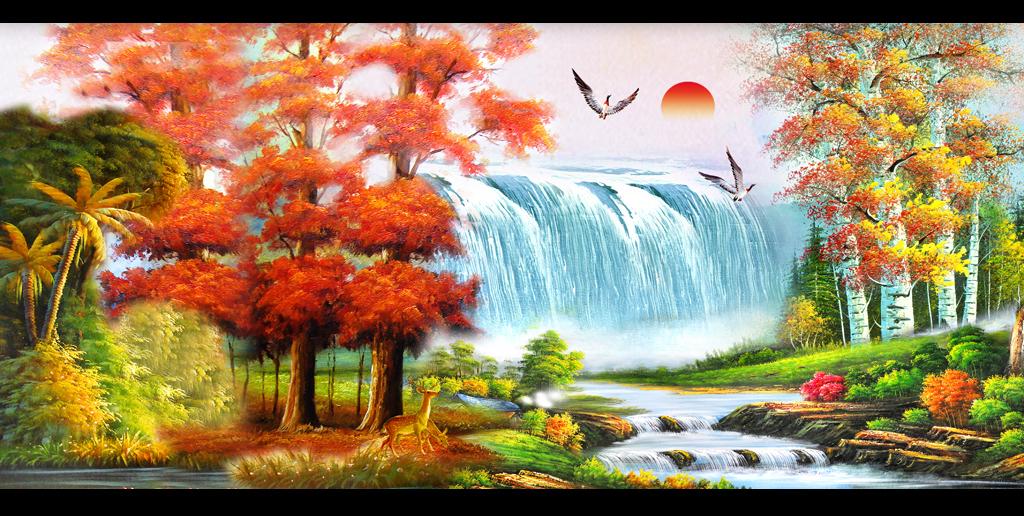 红枫树油画国画瀑布山水装饰画