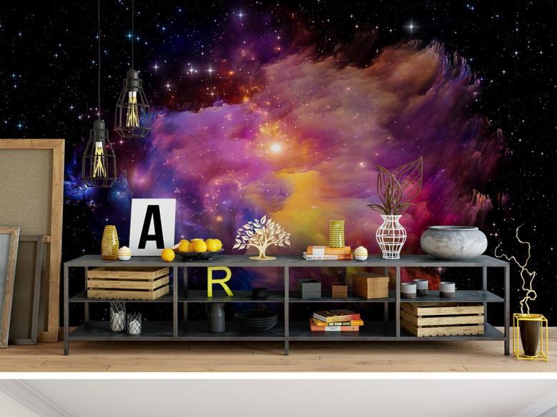 紫色梦幻抽象星空星云图案KTV绚丽背景墙