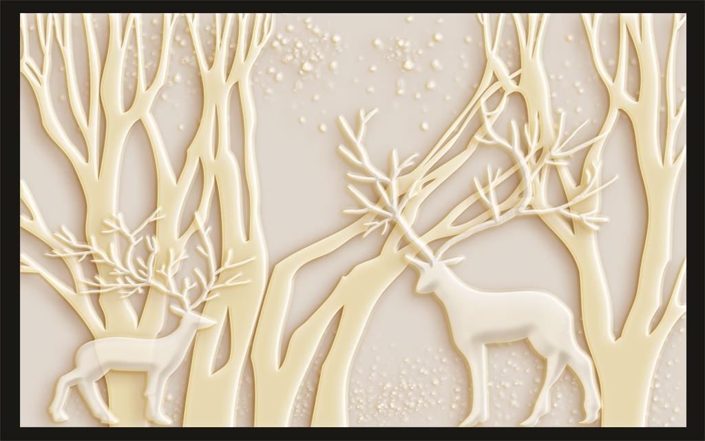 欧式浮雕森林麋鹿