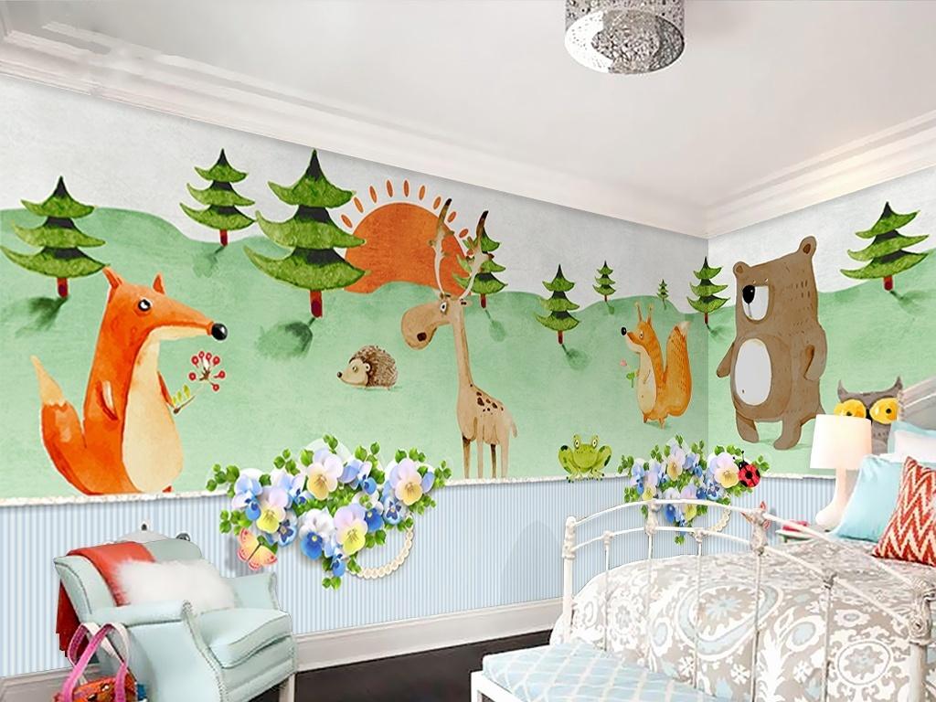 可爱呆萌动物儿童房背景墙